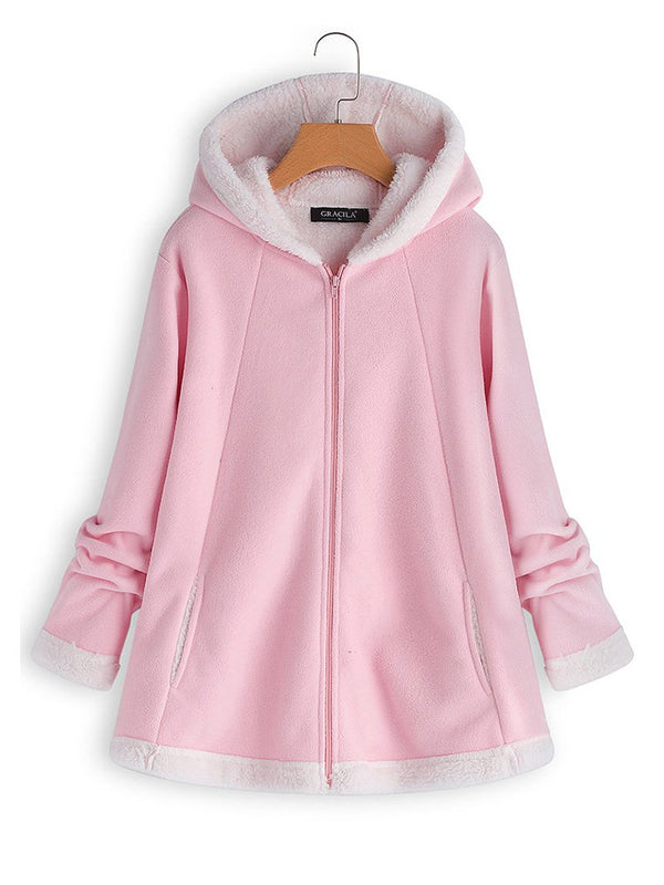 Casual Hooded Long Sleeve Fleece Coats Zipper Pocket(Special Offer  For the 1st Order CODE:SALE)