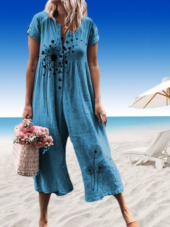 Short Sleeve Floral-Print One-Pieces Jumpsuits