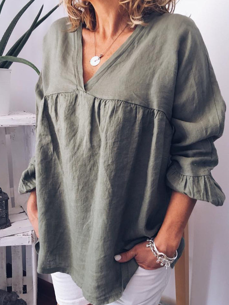 Casual V Neck Long Sleeve Solid Top