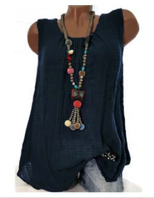 Women Tank Plus size Linen Round Neck Sleeveless Casual