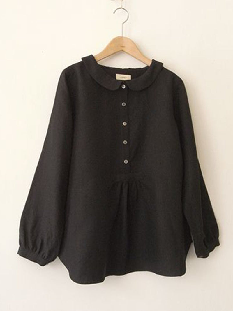 Women Blouse Plus Size Long Sleeve Sweet Solid