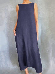 Cotton Casual Solid Maxi Dress