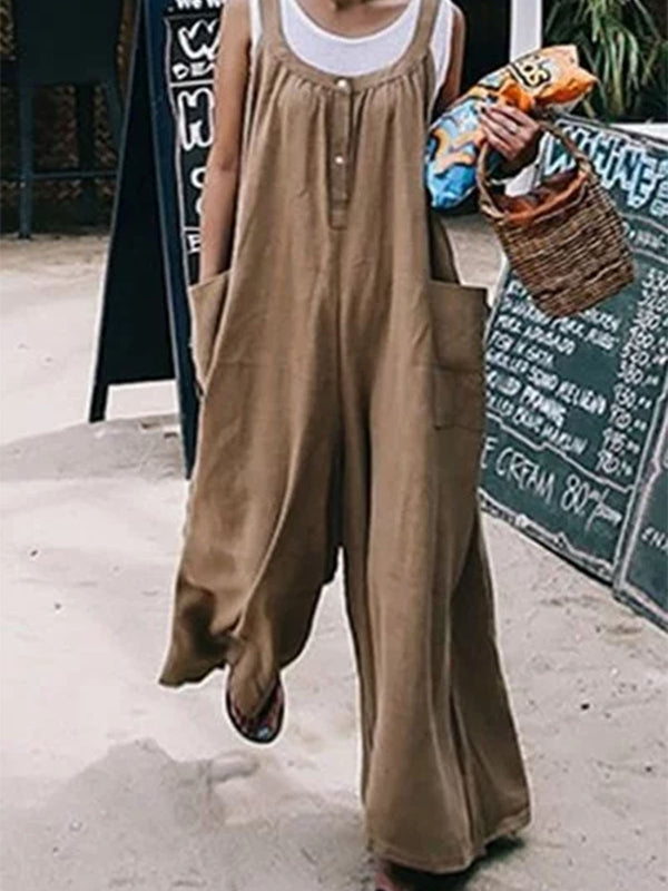 Khaki Solid Sheath Sleeveless Jumpsuits
