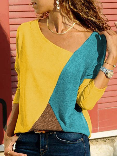 Women T-Shirt Plus size Long Sleeve Patchwork Vintage V Neck