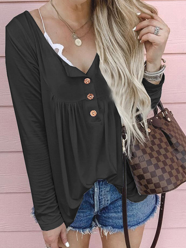Buttoned Casual Long Sleeve T-Shirts