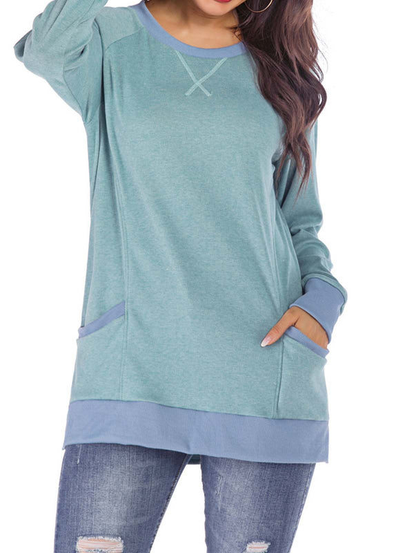 Casual Long Sleeve Cotton-Blend Crew Neck Sweatershirts