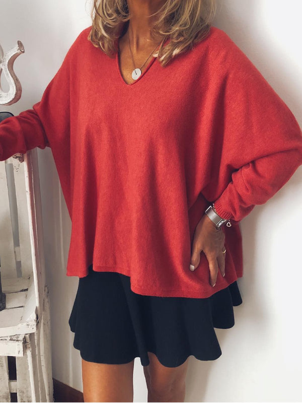 Red V Neck Solid Cotton-Blend Holiday Shirts & Tops