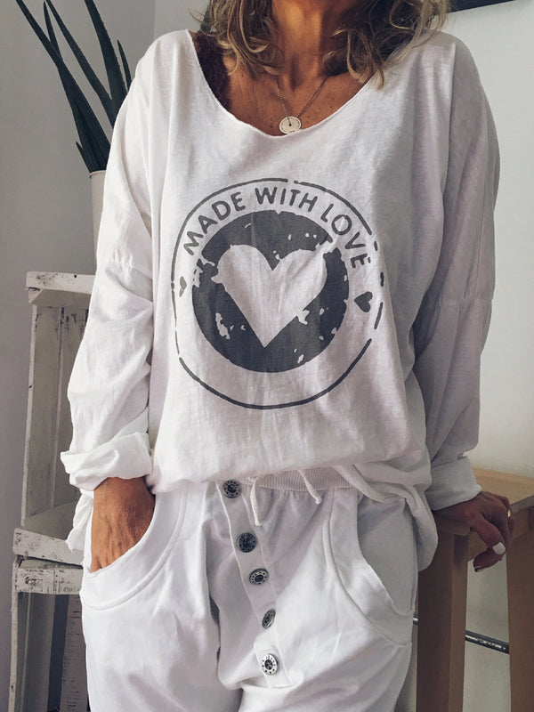 White Printed Long Sleeve Shirts & Tops
