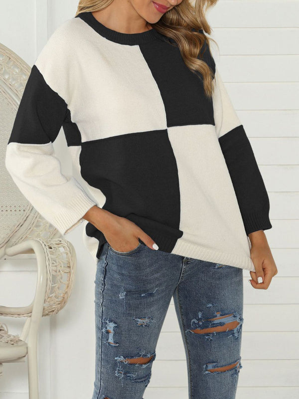Casual Crew Neck Long Sleeve Knitted Sweaters
