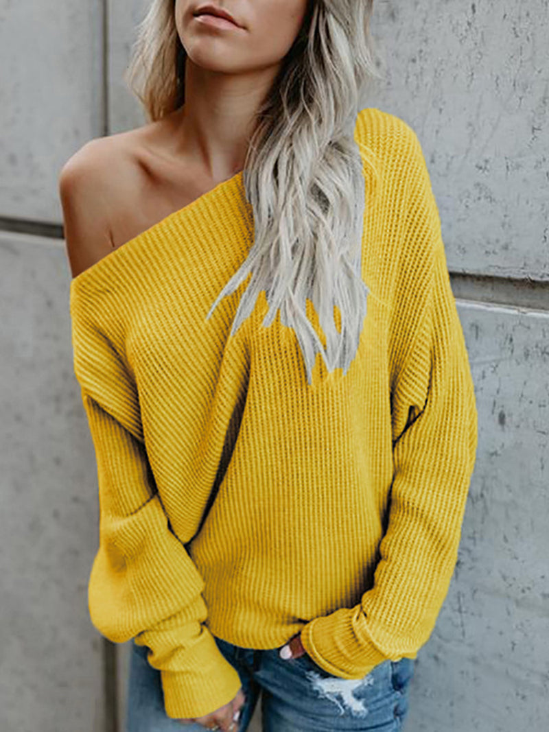 Long Sleeve Knitted Crew Neck Plain Sweaters
