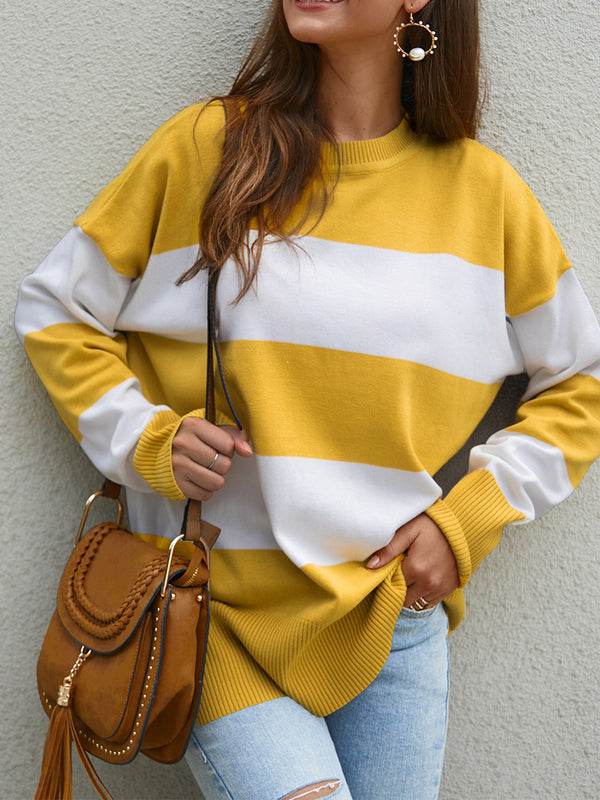 Crew Neck Knitted Long Sleeve Casual Sweaters