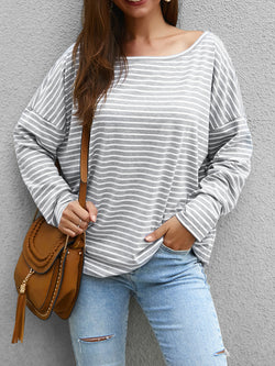 Long Sleeve Striped Crew Neck T-Shirts