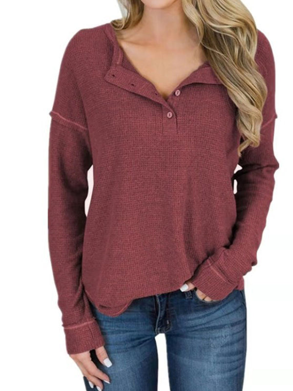 Casual Long Sleeve V Neck T-Shirts