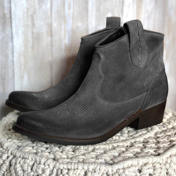 Womens Boots Vintage Slip-On Pu Chunky Heel Ankle Boots