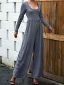 Long Sleeve Crew Neck Striped Jumpsuits