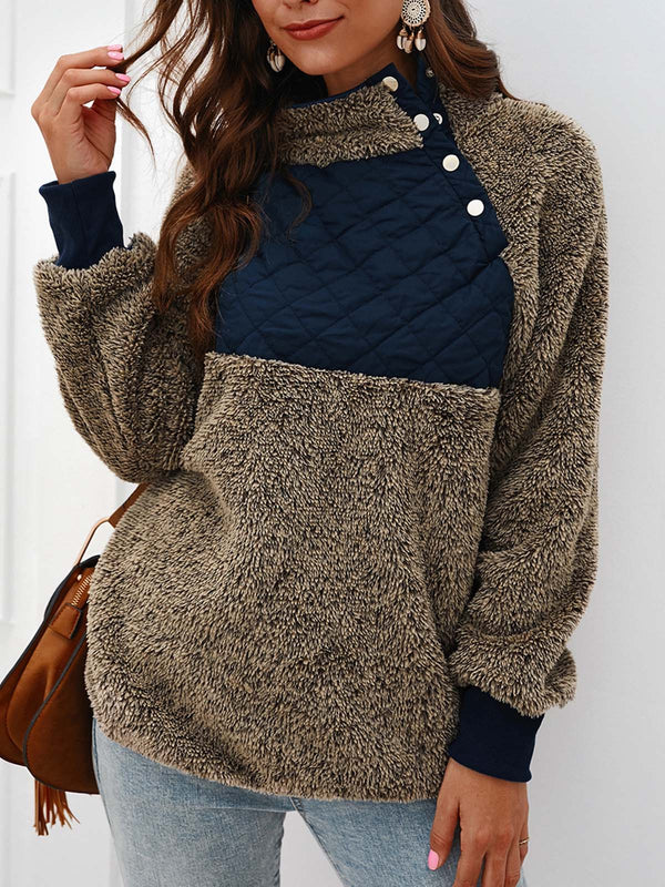 Casual Long Sleeve Faux Fur Paneled Sweatshirts