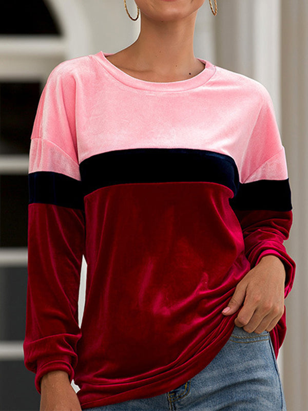 Color-Block Crew Neck Long Sleeve Sweatshirts
