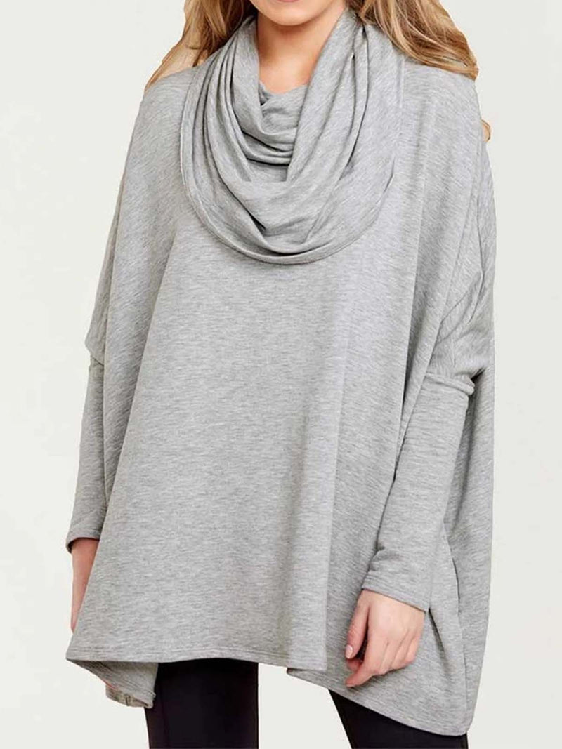 Long Sleeve Cowl Neck Solid T-Shirts