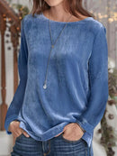 Plain Long Sleeve Casual Crew Neck Shirts & Tops