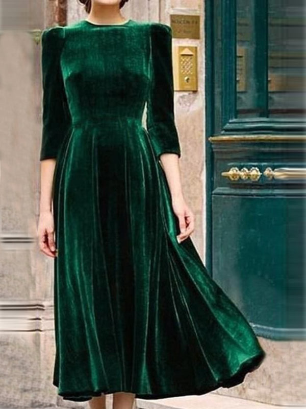 Army Green Vintage Velvet Dresses