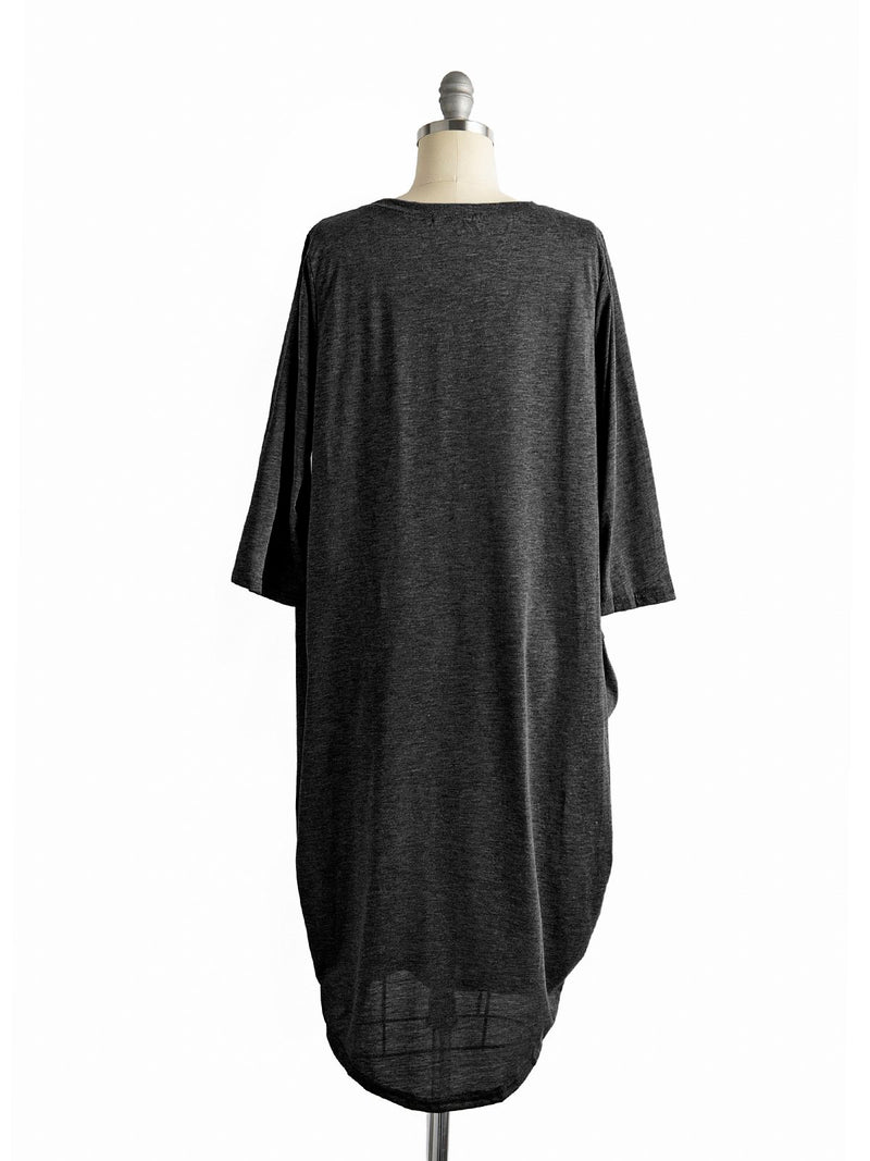 Women Mini Dress Plus size Cocoon Batwing Solid Crew Neck