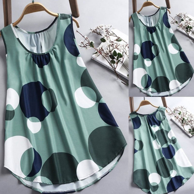 Round Neck Casual Sleeveless Polka Dots Blouse