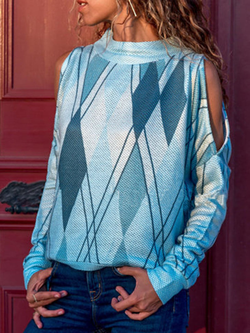 Long Sleeve Cold Shoulder Printed Geometric T-Shirt