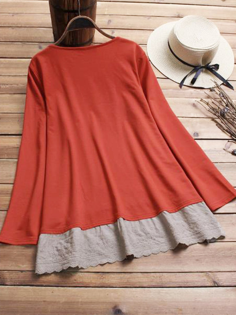 Long Sleeve Casual Paneled Plus Size Blouses