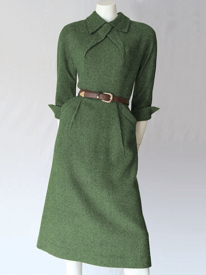 Women Winter Caftan Pockets Vintage Dresses