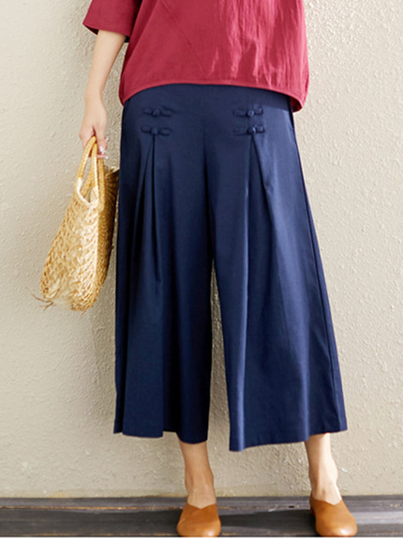 Casual Solid Buttoned Elastic Waist Pants