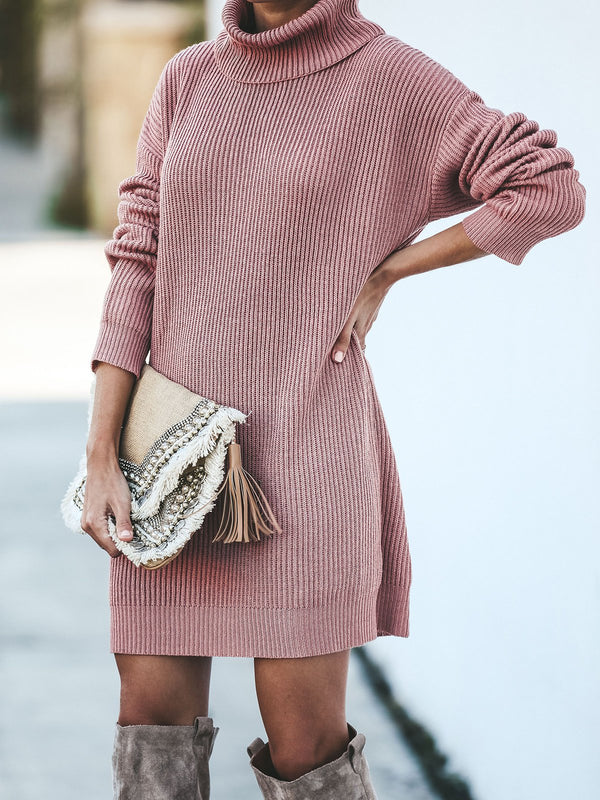 Turtleneck Knitted Shift Casual Dress