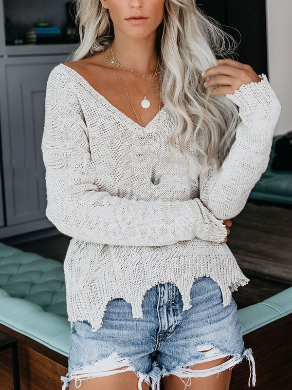 Casual Solid V Neck Knitted Sweater
