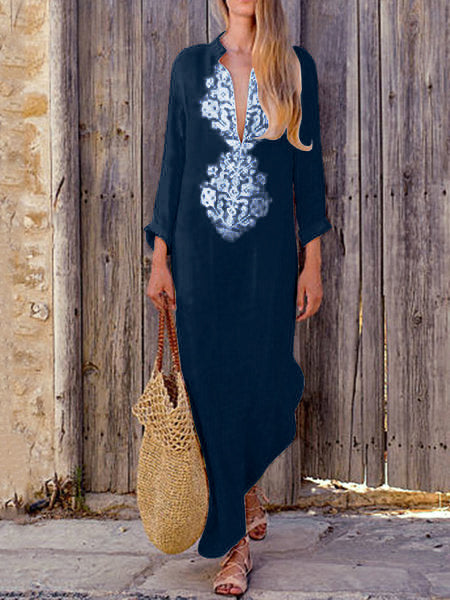 Summer Maxi Dress for Women Beach Floral Argyle Printed Stand-up Neck with Long Sleeve Elegant Dress