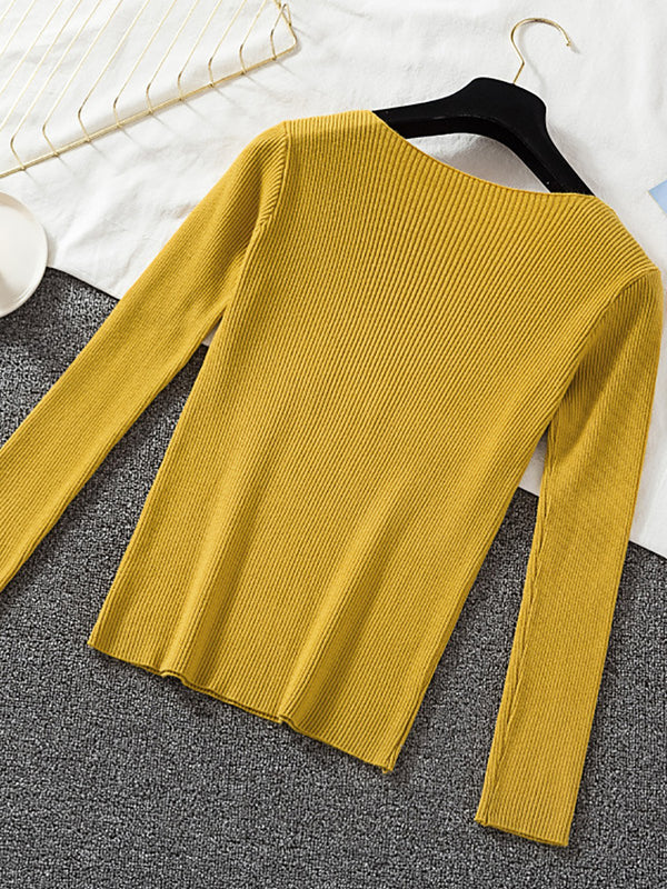 V Neck Big Stretchy Knitted Sweater