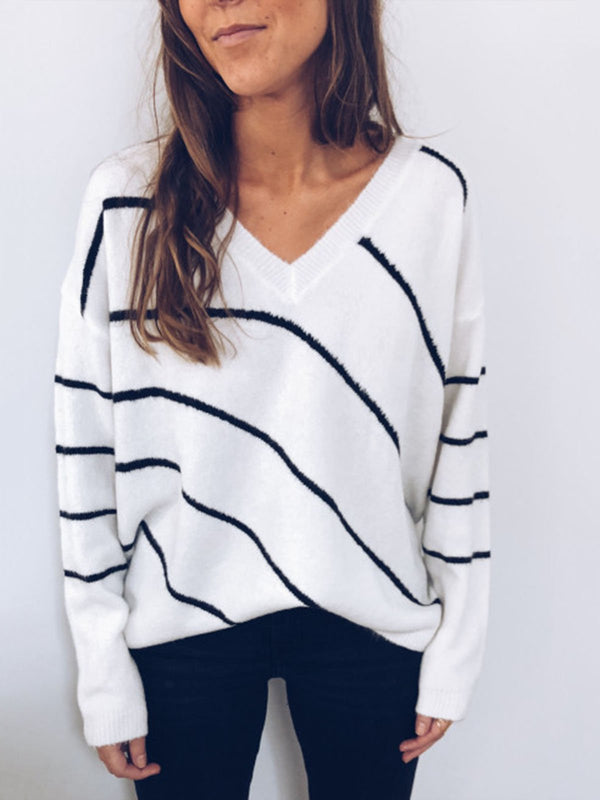 V Neck Casual Knitted Long Sleeve Sweater