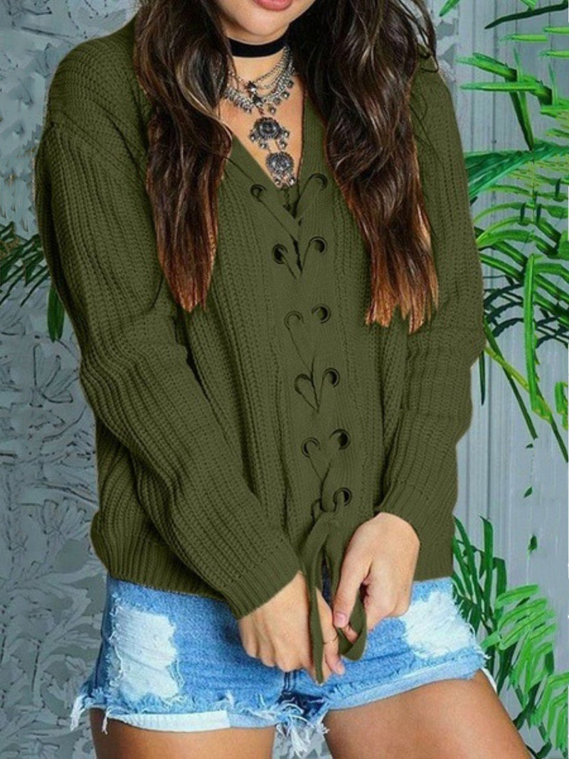 Casual Plain Lace-up V-neck Long Sleeve Sweater