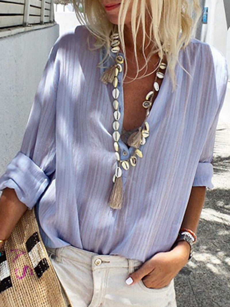 Casual Striped Stand Collar Long Sleeve Blouse