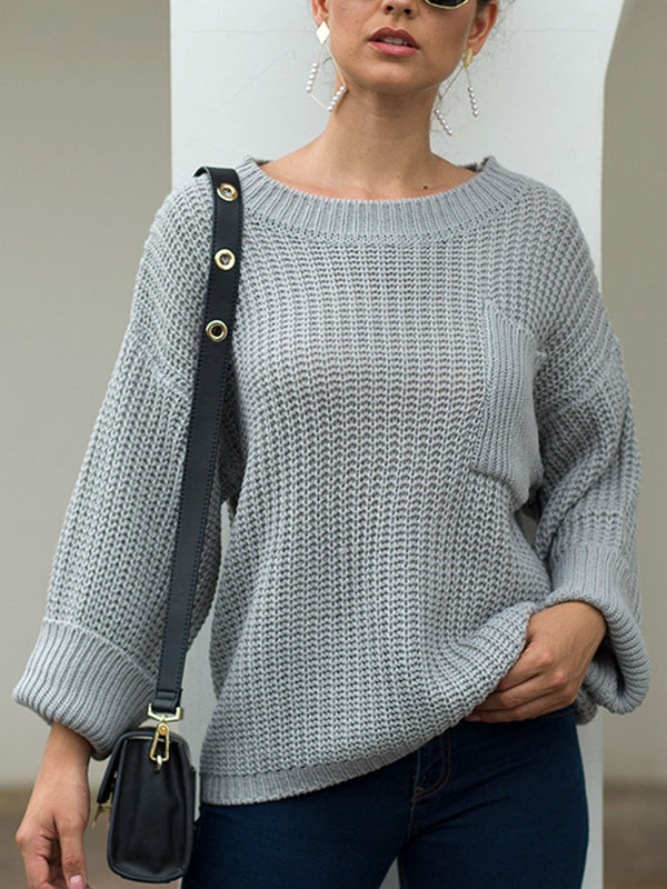 Casual Knitted Crew Neck Long Sleeve Pockets Sweater