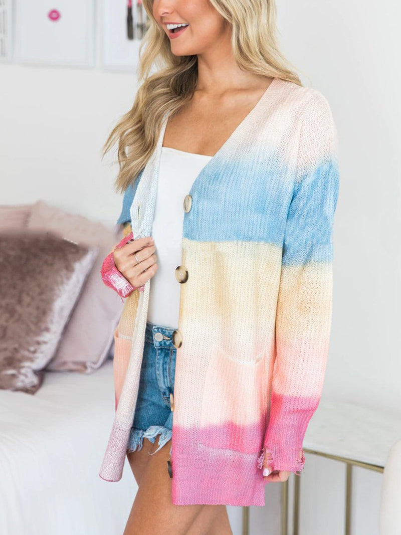 Tie-Dye Buttoned Long Sleeve Knitted Cardigan