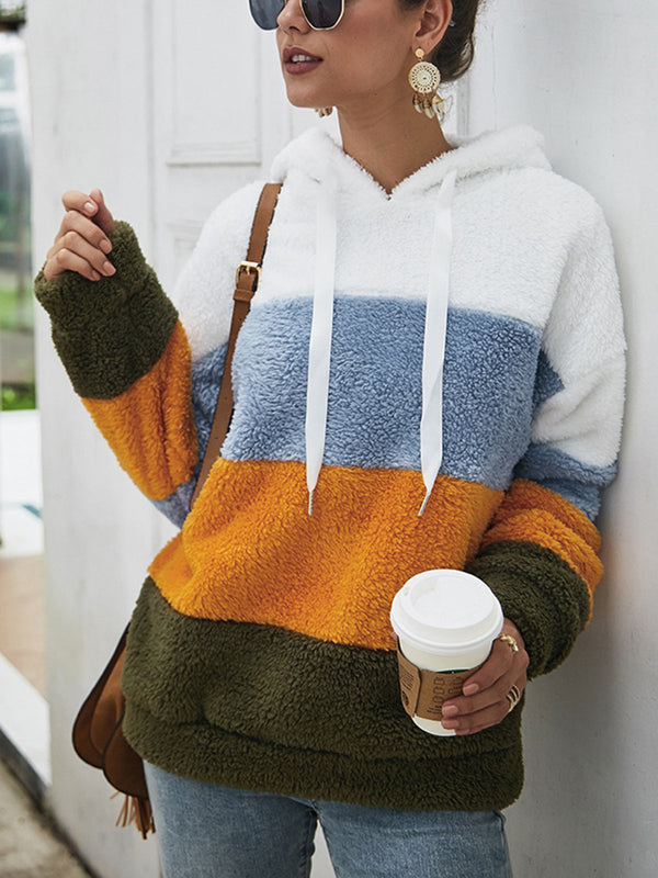 Casual Long Sleeve Color-Block Hoodie