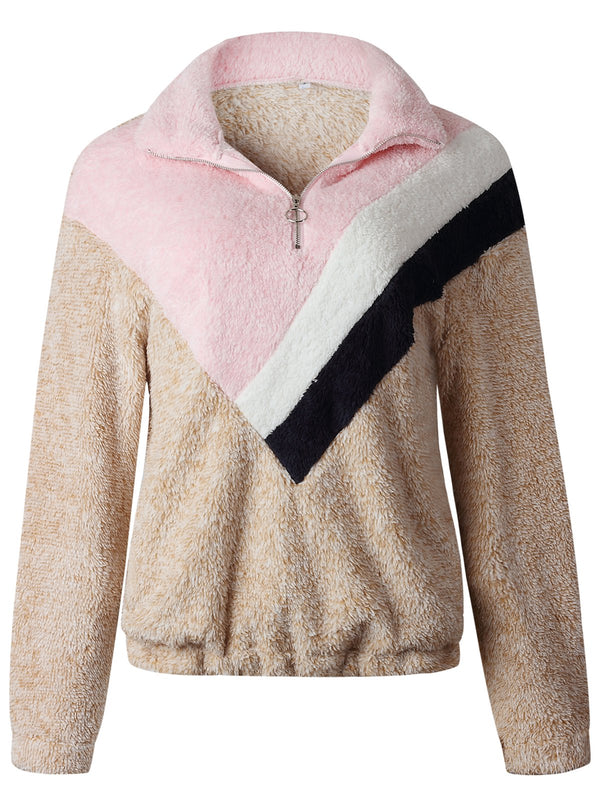 Stand Collar Casual Color-Block Sweatshirt