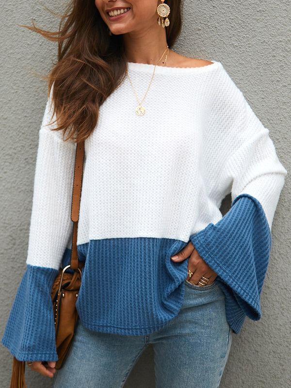 Casual Bell Sleeve Color-Block Sweater