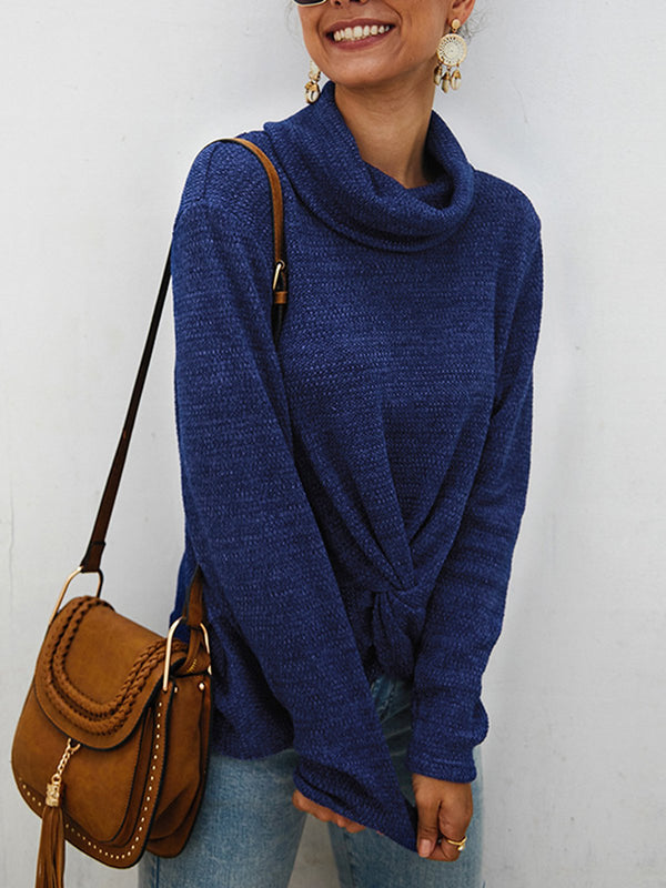 Knitted Cowl Neck Long Sleeve Casual Sweater