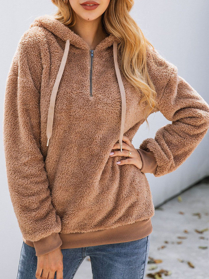Casual Plain Hoodie Zipper Long Sleeve Pockets Outerwear