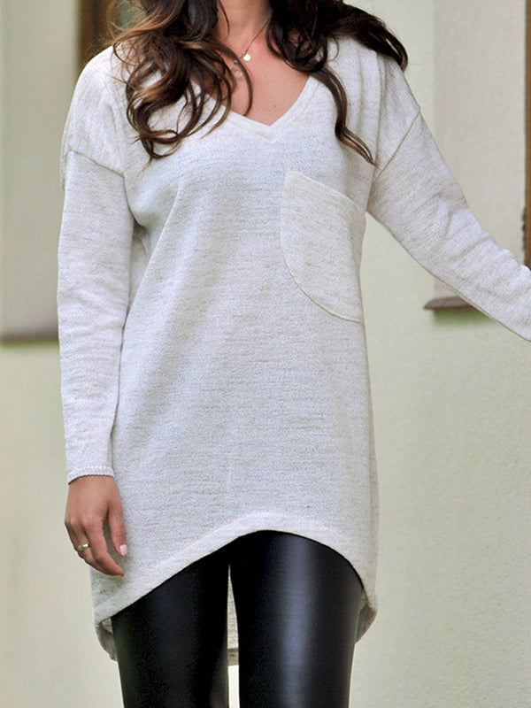 Casual Plain V-neck Long Sleeve Pockets Shirt