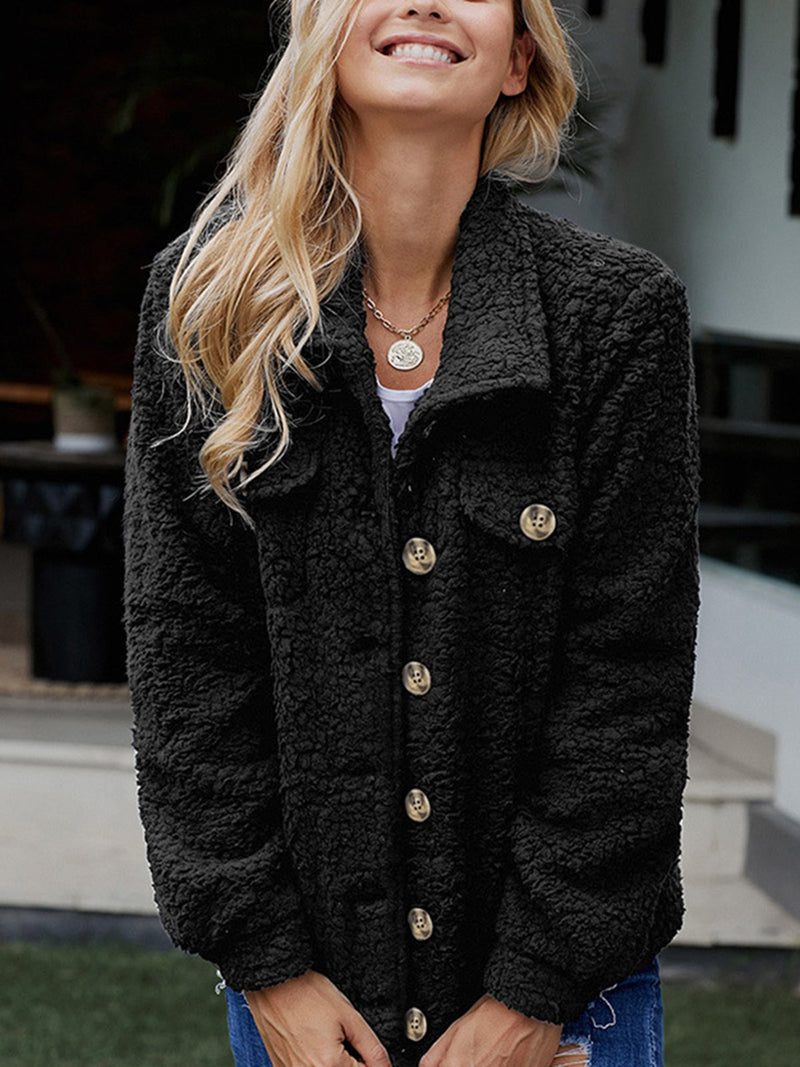 Long Sleeve Solid Casual Shawl Collar Coat