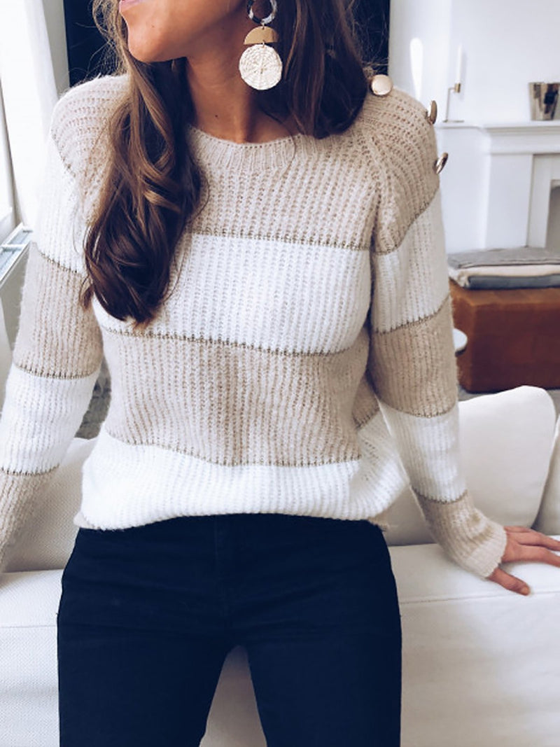 Button Decor Striped Knitted Sweaters