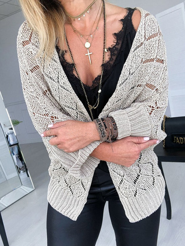 Casual Knitted 3/4 Sleeve Cardigan