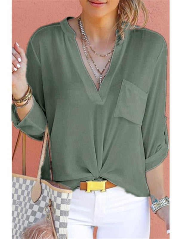 Long Sleeve Plain Chiffon Casual Blouse