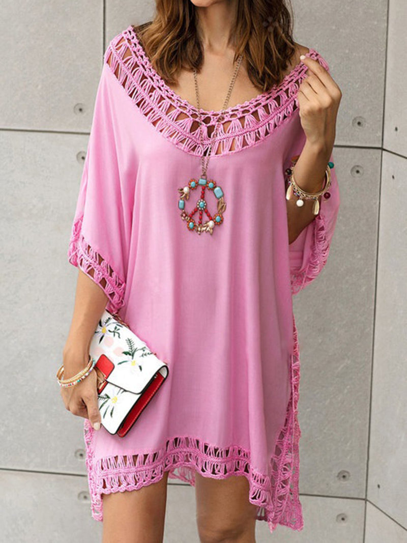 Basic Crocheted Half Sleeve Solid Summer Holiday Dress
